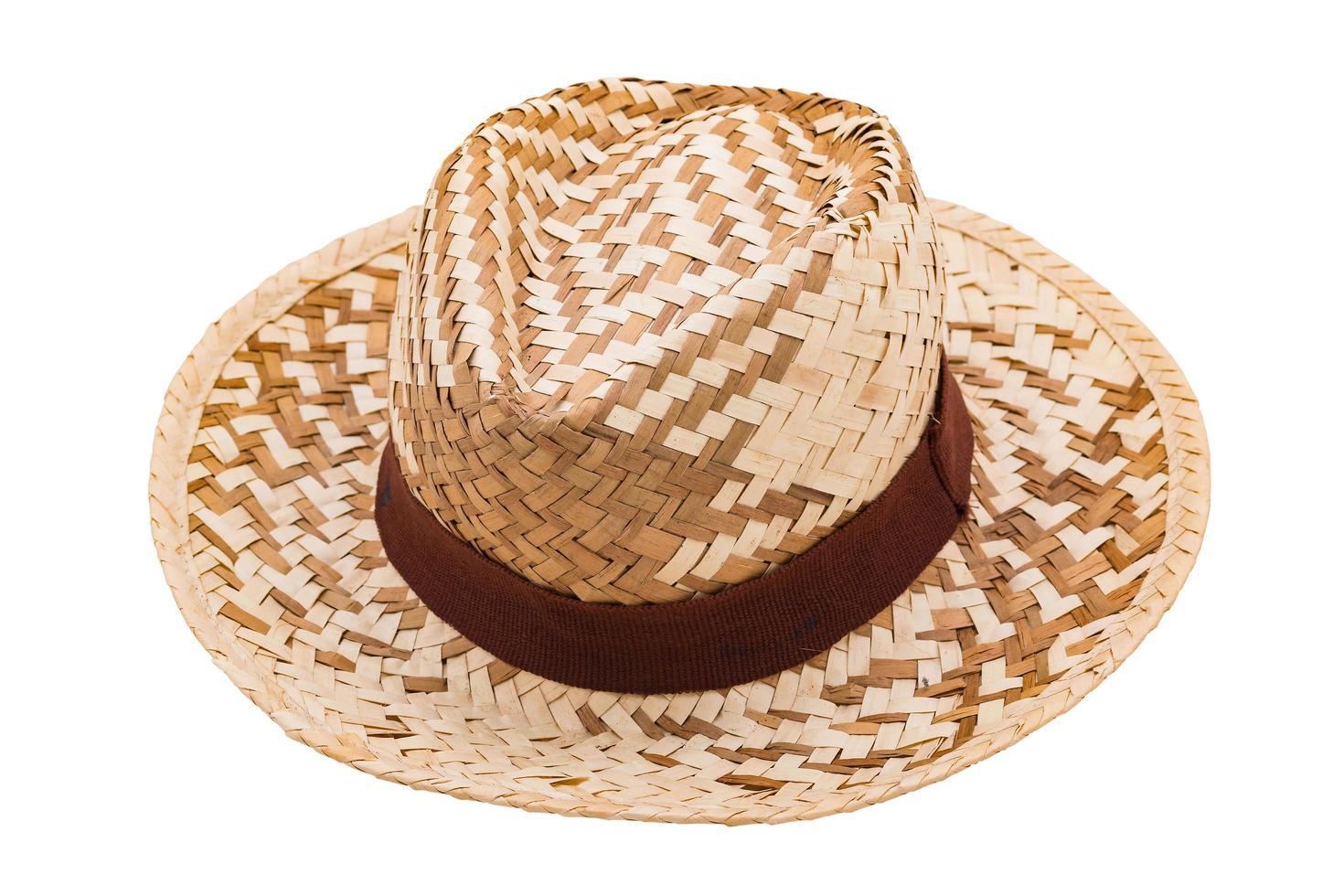 strooien hoed geïsoleerd op een witte achtergrond foto