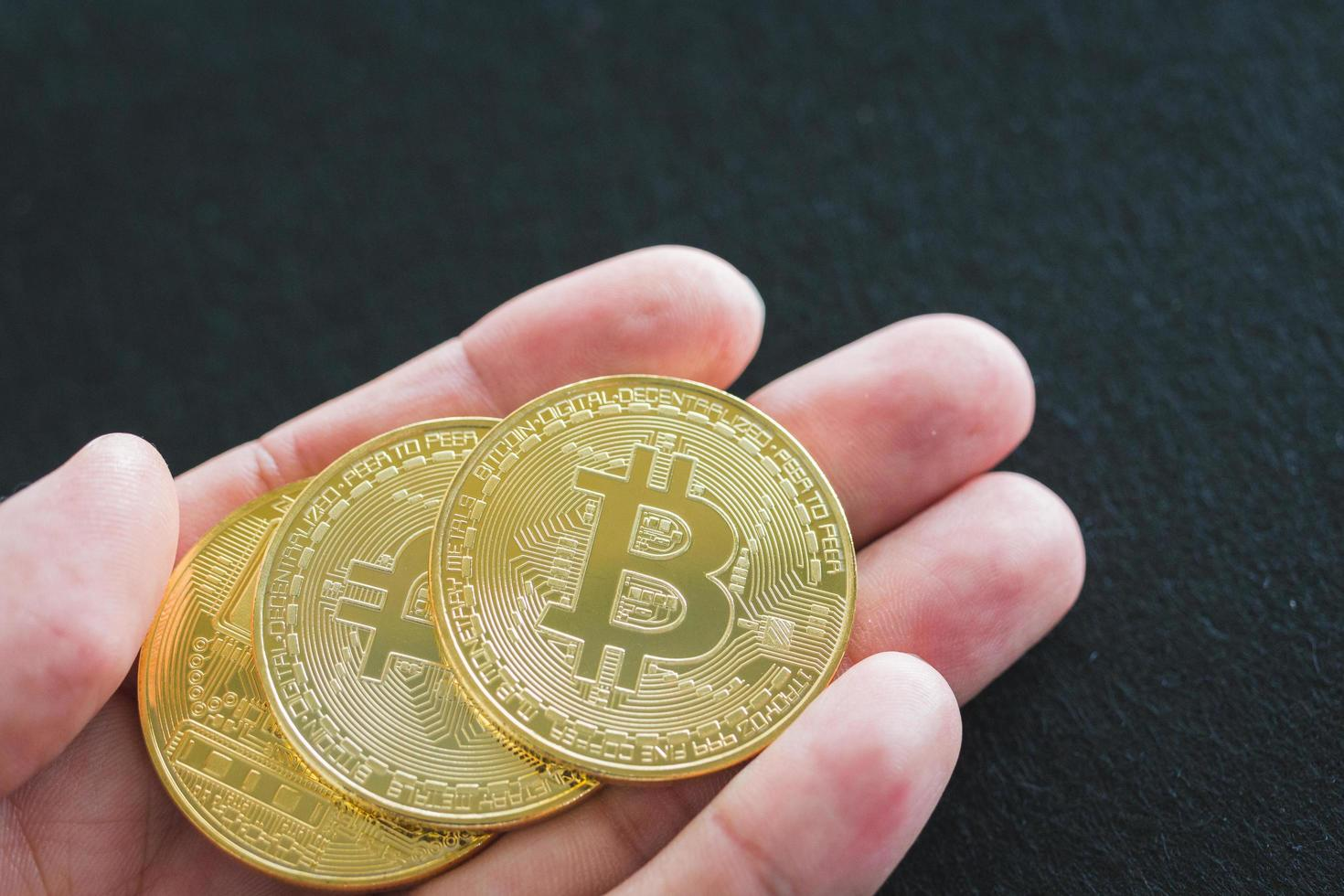 bitcoin-munten, digitaal valutaconcept foto