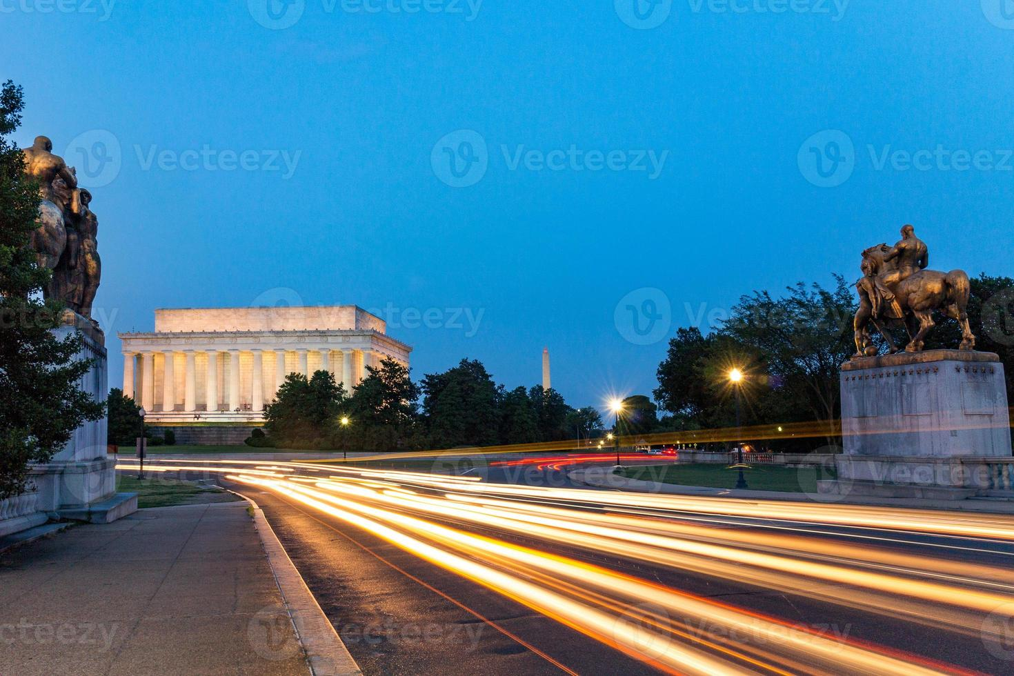 Lincoln Memorial 's nachts in Washington DC, Verenigde Staten foto