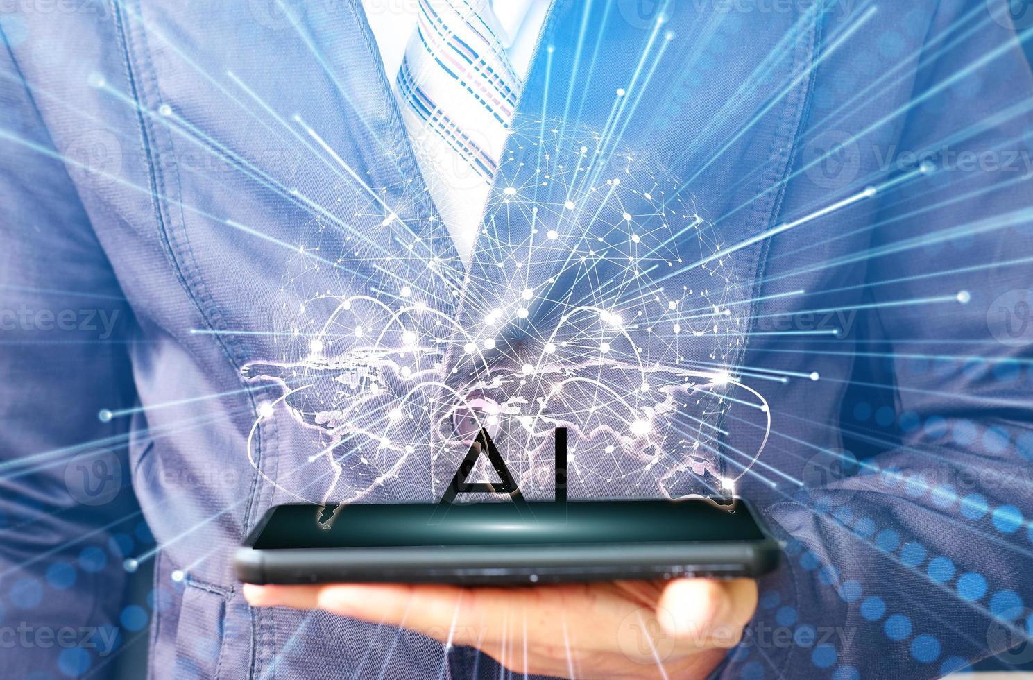 zakenman met behulp van een smartphone en technologie netwerkconcepten foto