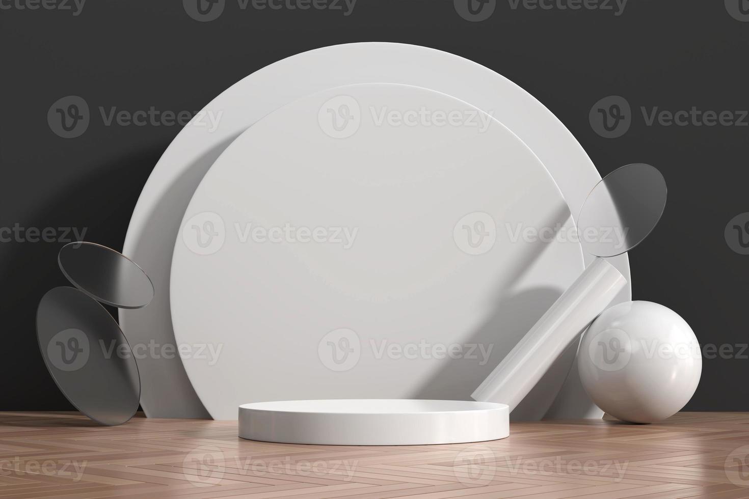 abstracte witte podiumshowcase voor productvertoning met 3d decoratie van de geometrische vorm, geeft terug foto