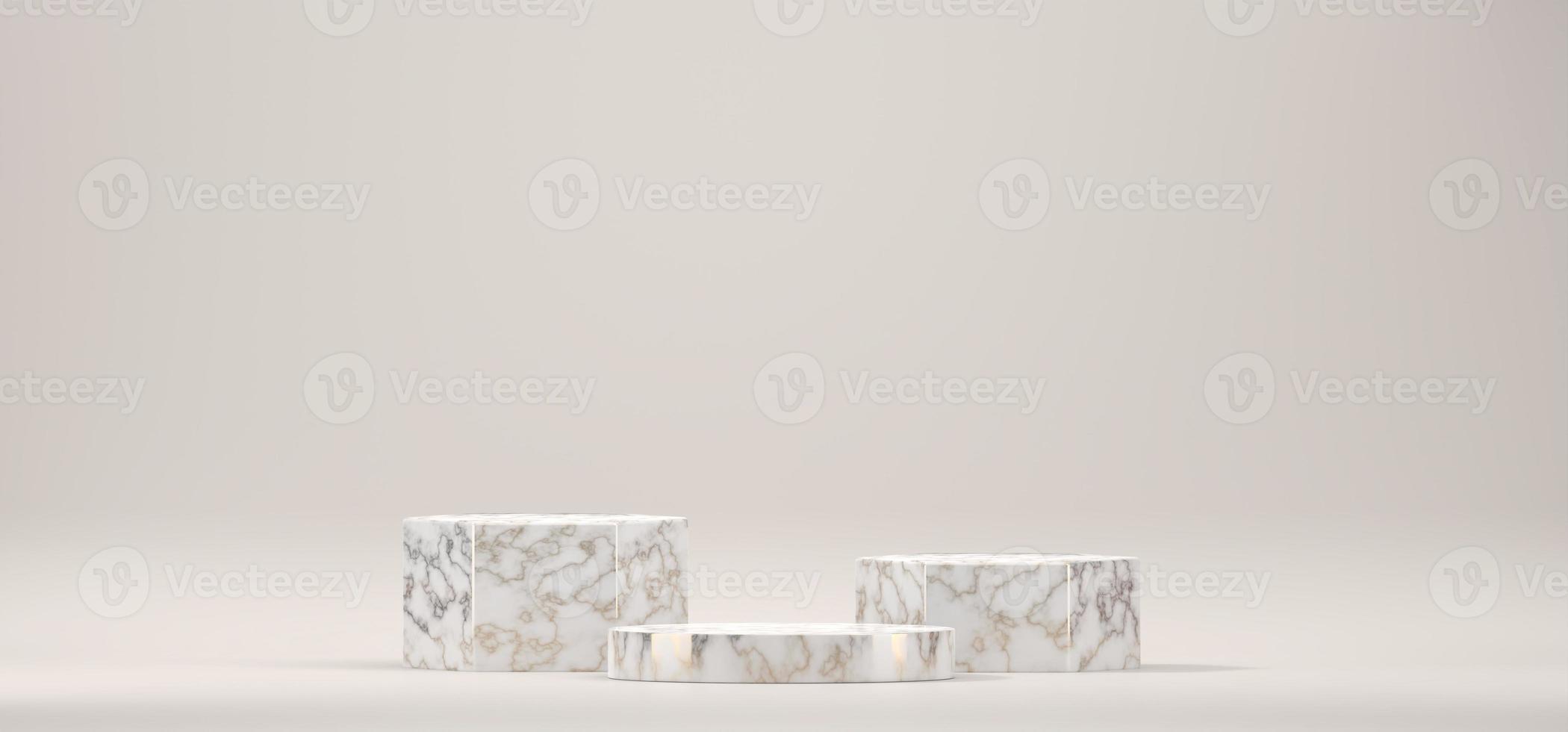 marmeren podium podiumplatform voor product, 3d render foto