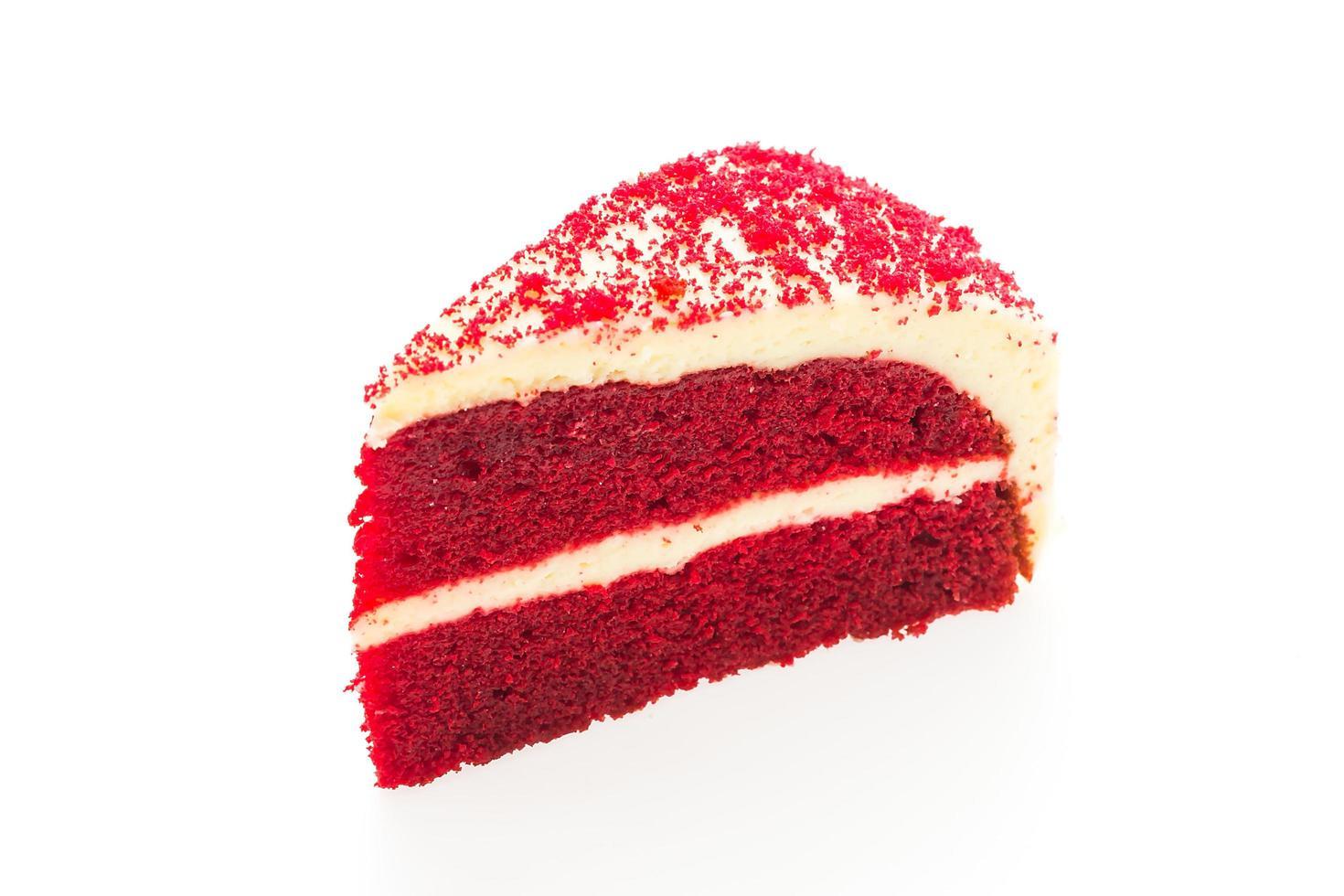 rood fluweel cake geïsoleerd op een witte achtergrond foto