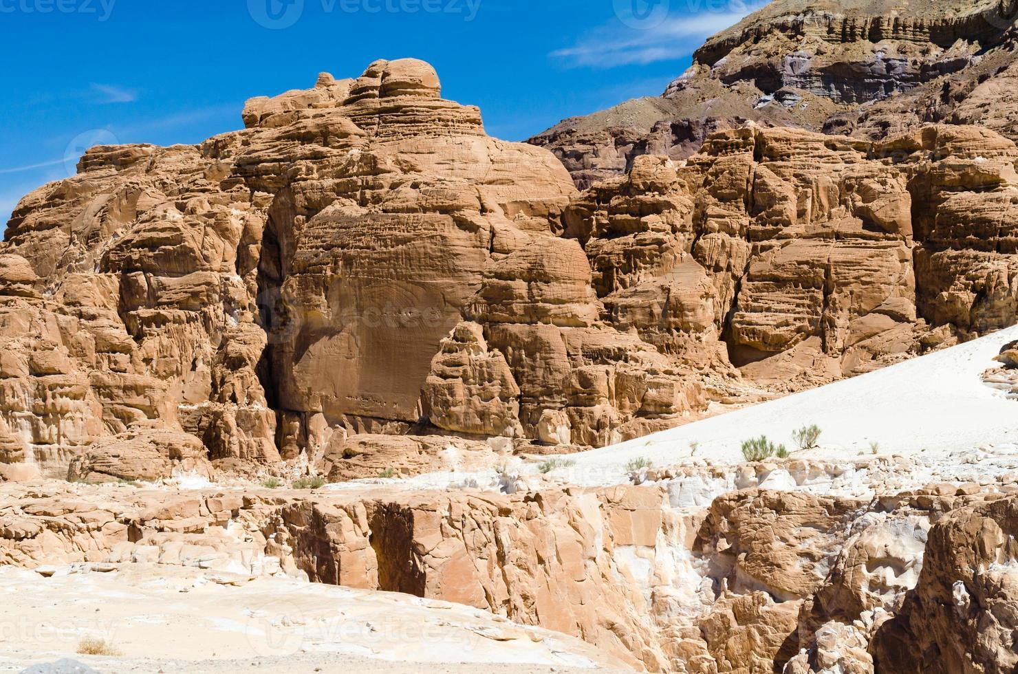 bruine rotsformaties in een woestijn foto