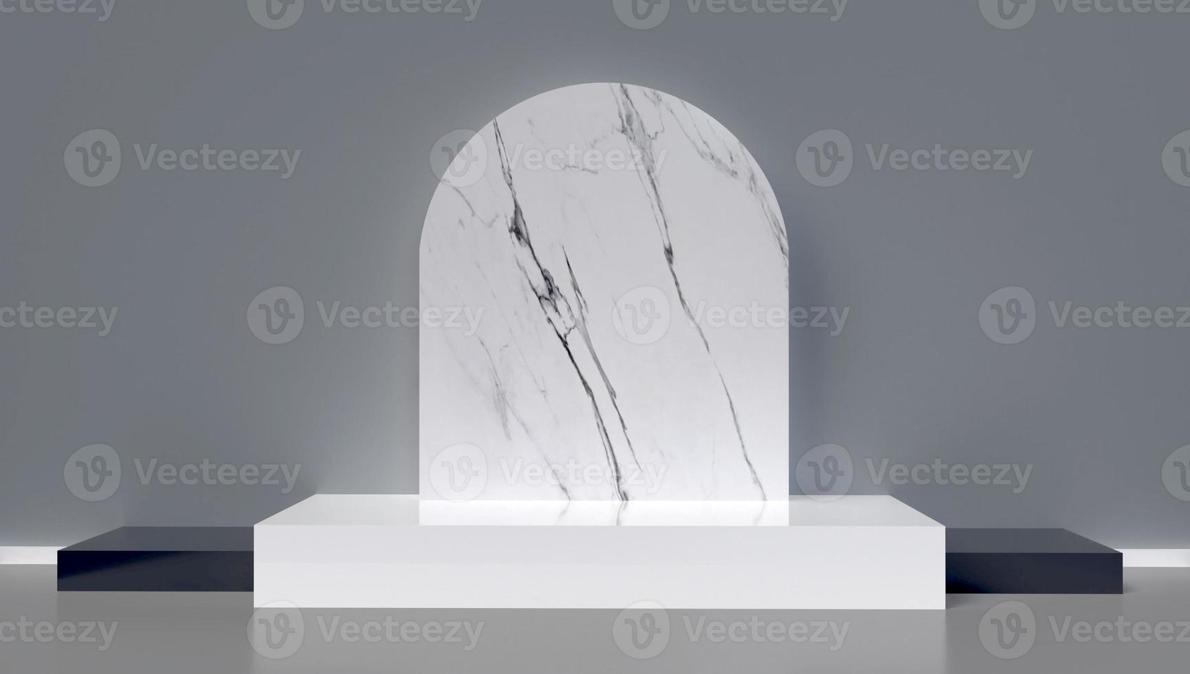 3D-weergave van marmeren boog en podium achtergrond foto