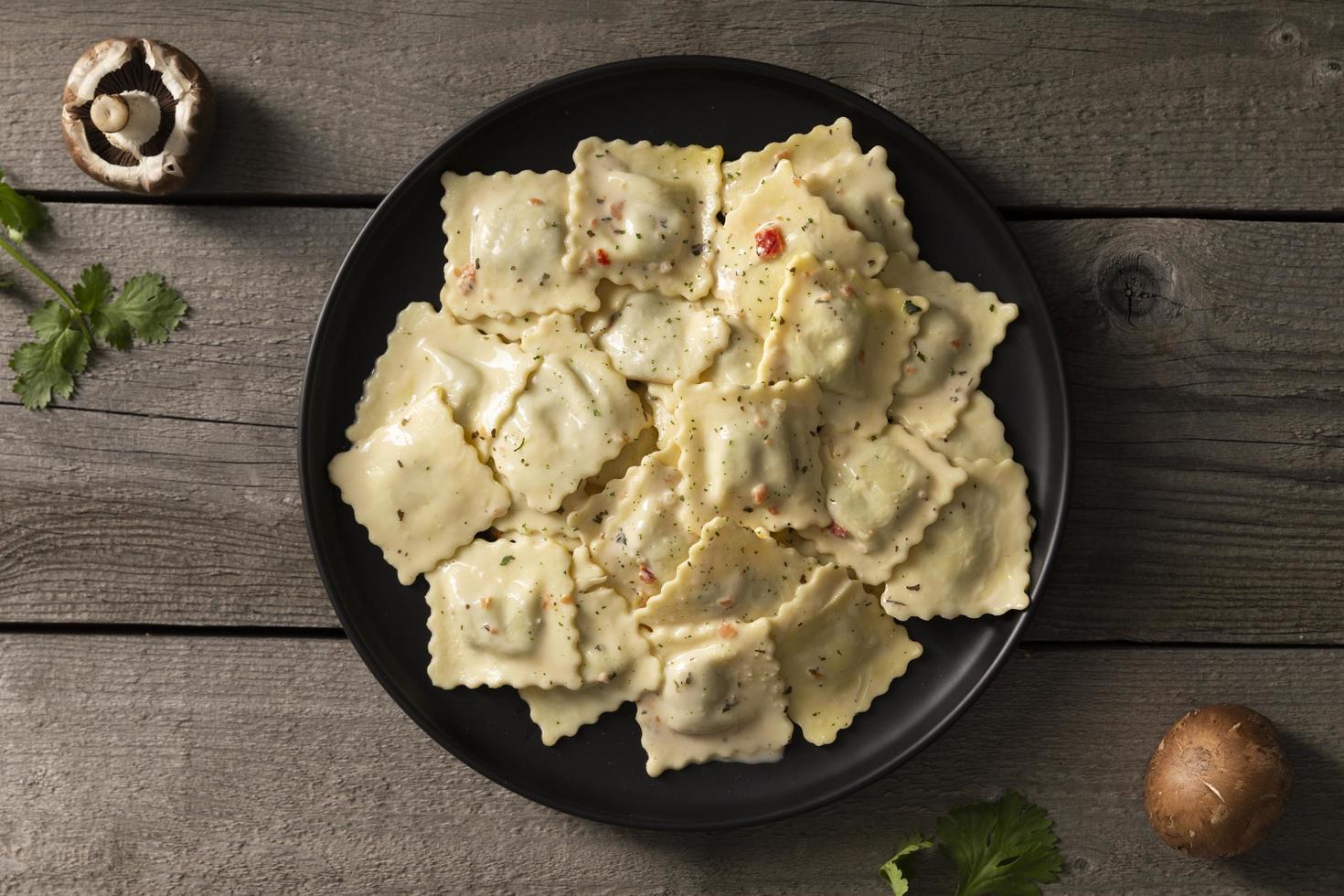 bovenaanzicht van heerlijk eten concept met kopie ruimte foto