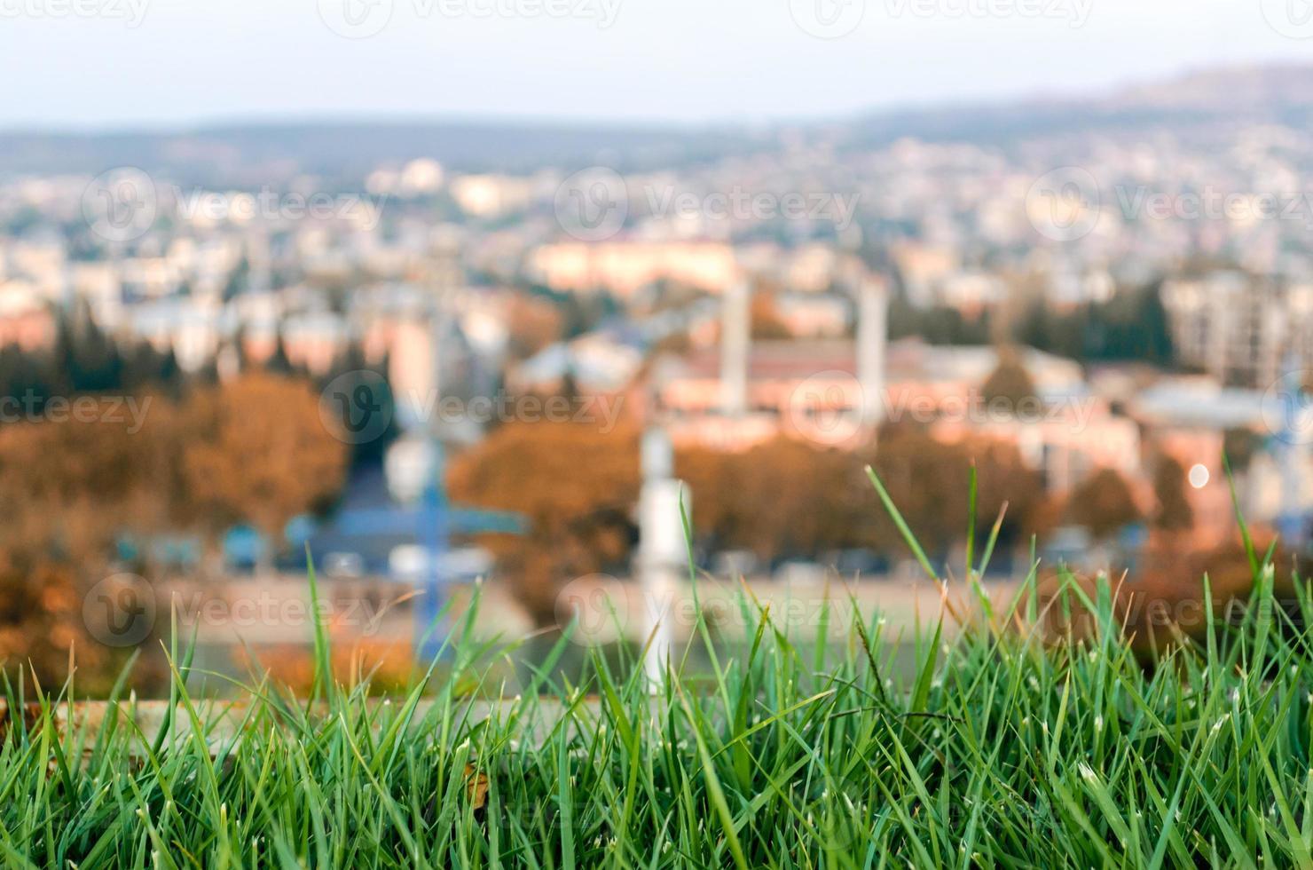 gazon met een stad op de achtergrond foto