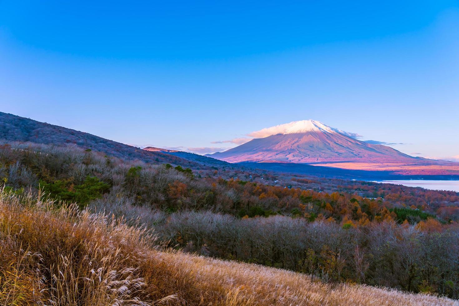 mooie mt. fuji bij yamanaka lake, japan foto