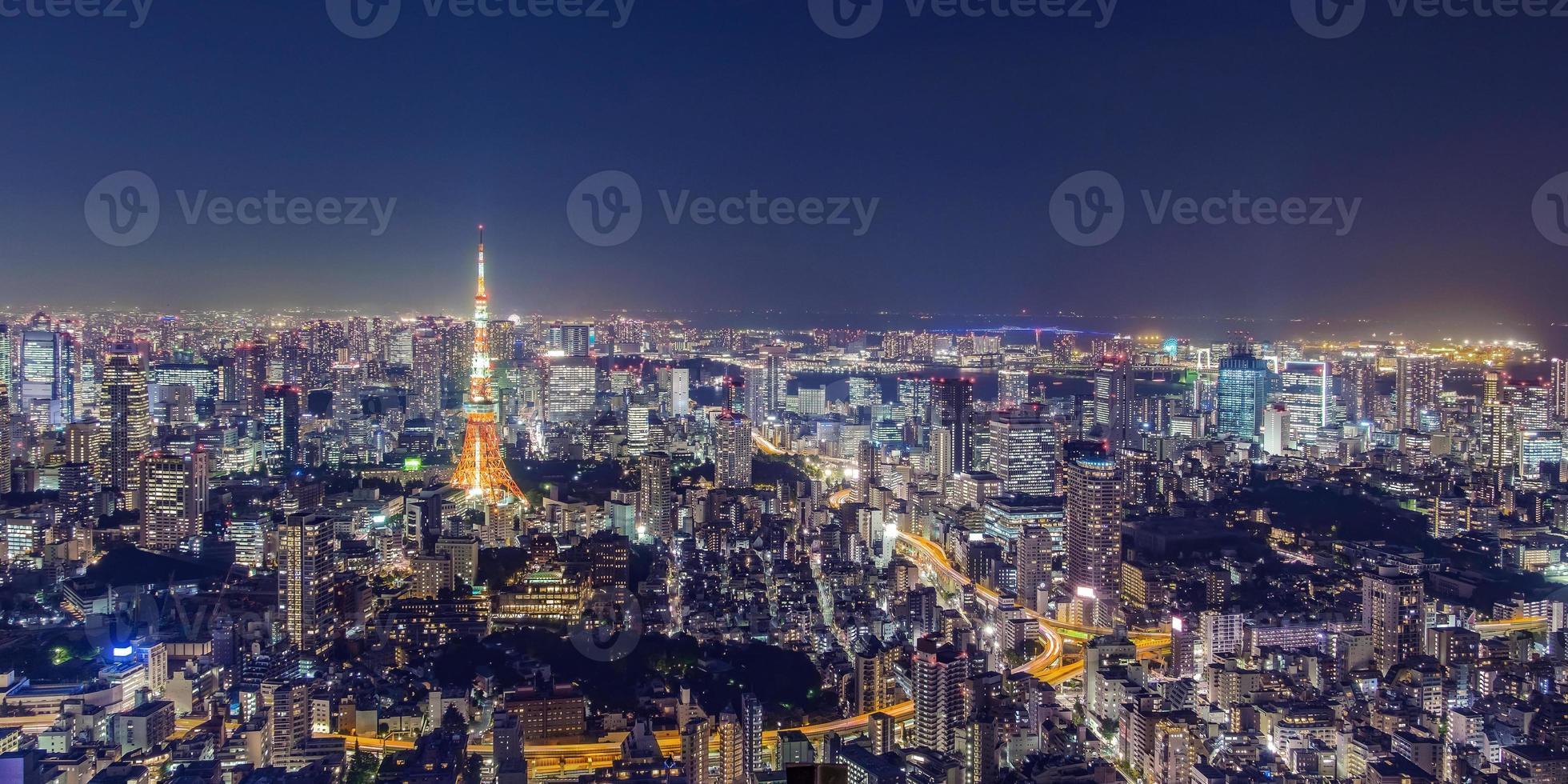 stadsgezicht van tokyo 's nachts foto