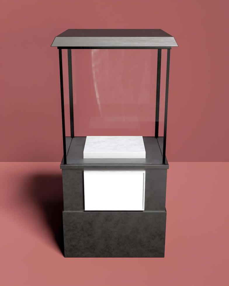 vierkante vitrine met glas voor productvertoning foto