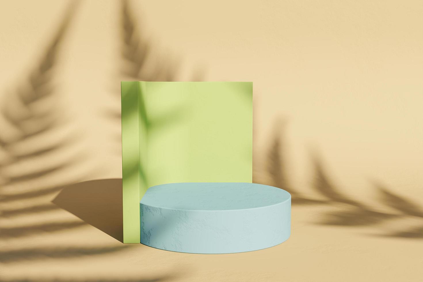 minimalistische standaard voor productvertoning met varenschaduw foto