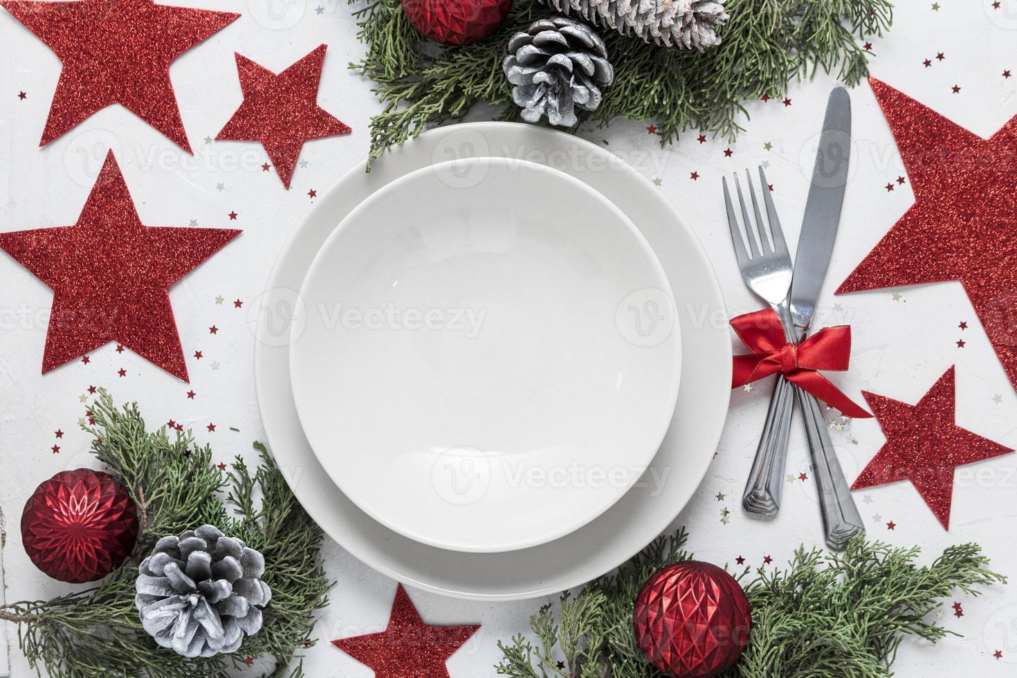 plat lag feestelijke kersttafel assortiment foto