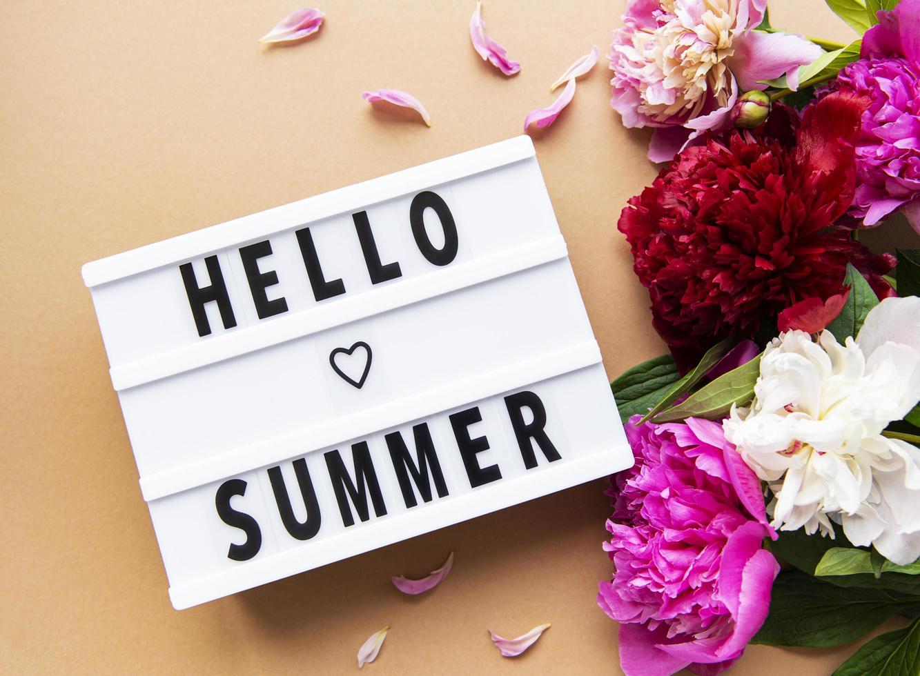 lichtbak met hallo zomertekst en pioenrozen foto