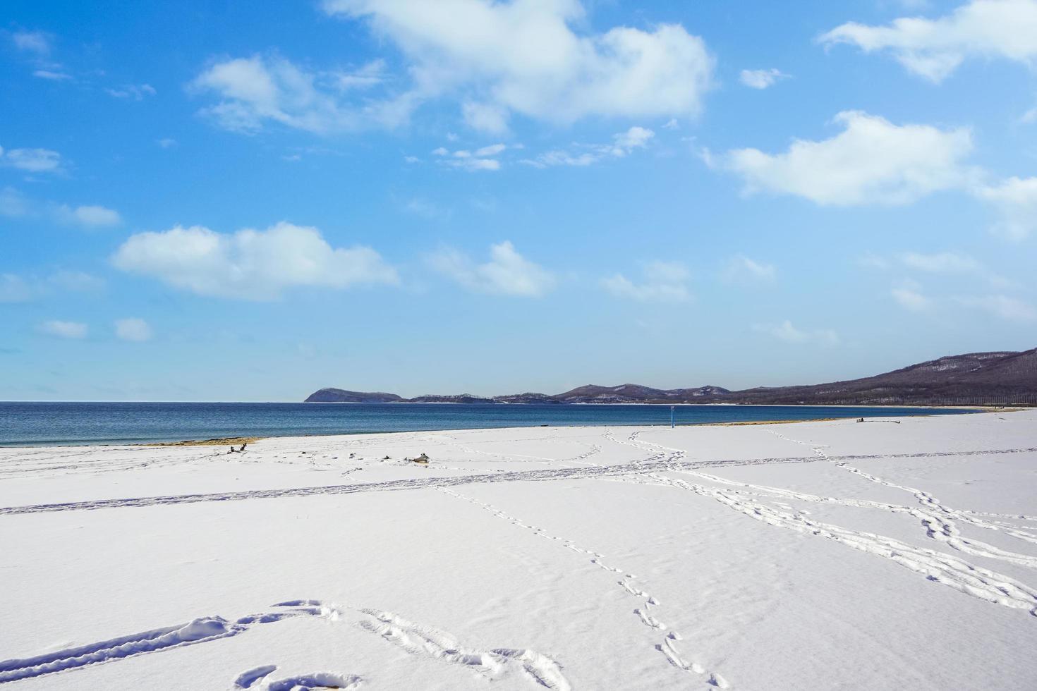 zeegezicht met een strand in de sneeuw foto