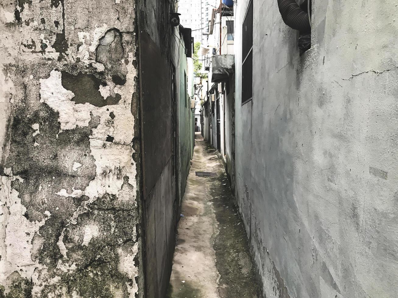 smalle straat in de haven van Busan, Zuid-Korea foto