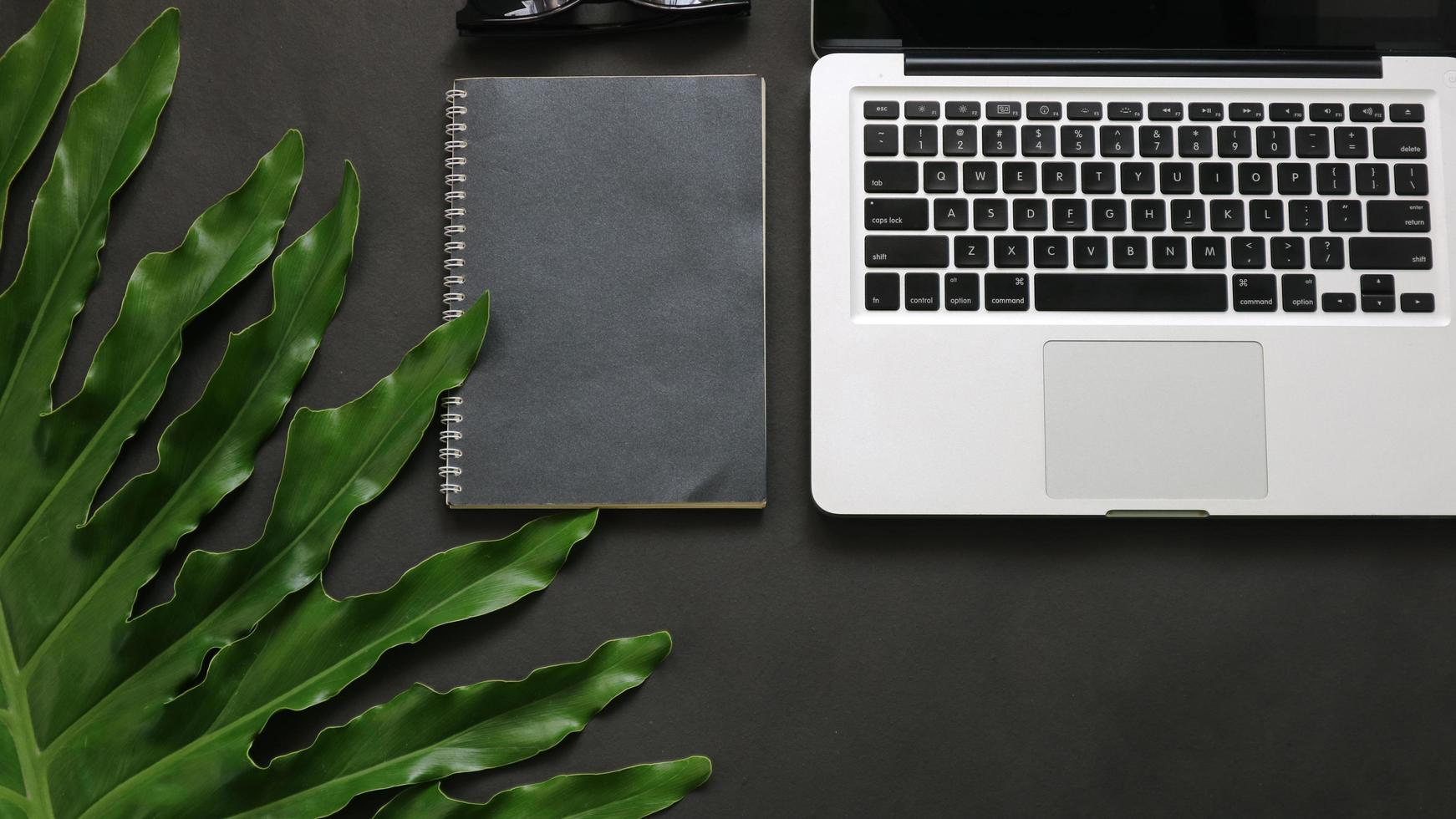 groene bladeren laptop alarm notebook op zwarte achtergrond foto