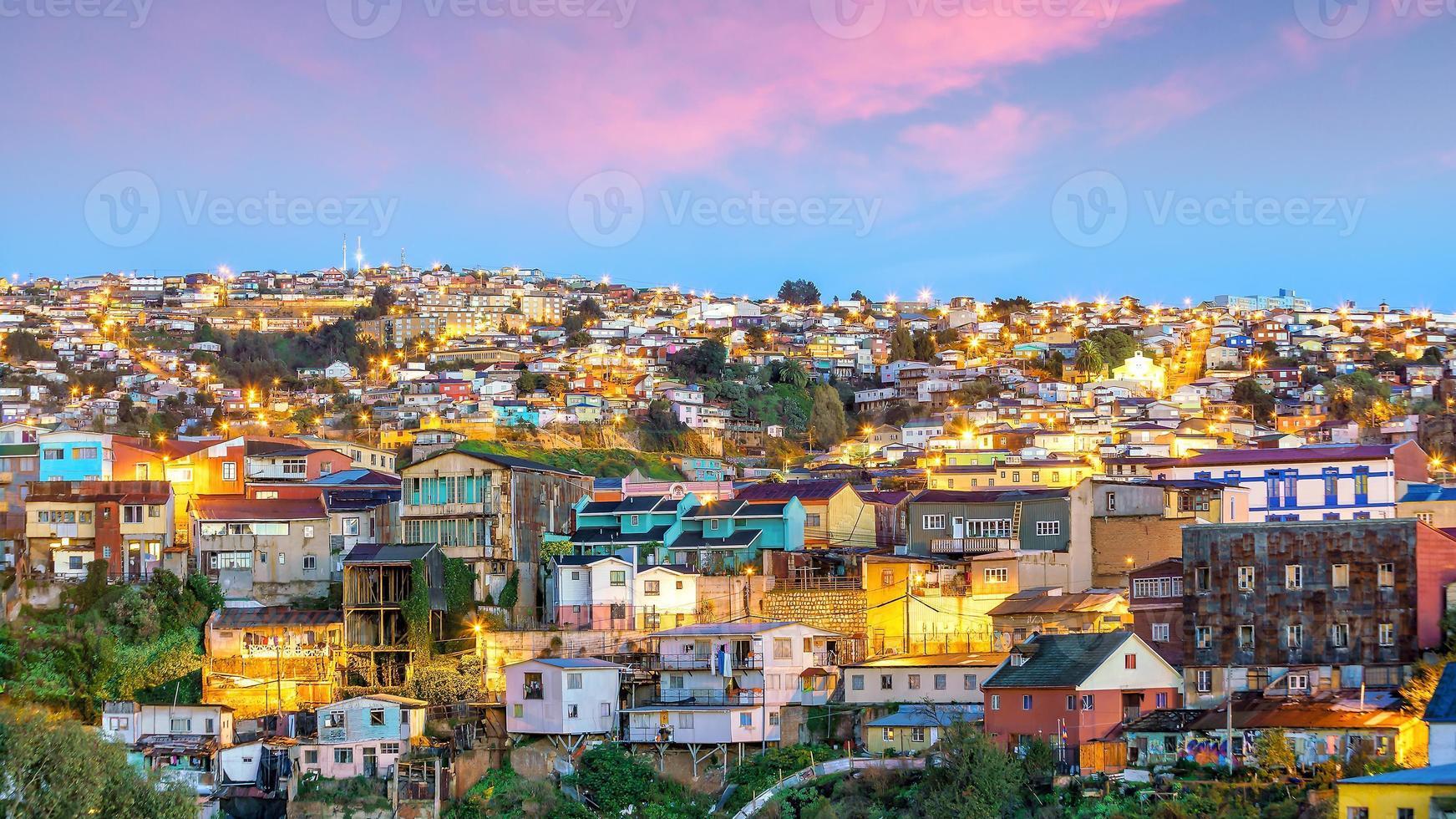 de historische wijk Valparaiso in Chili foto
