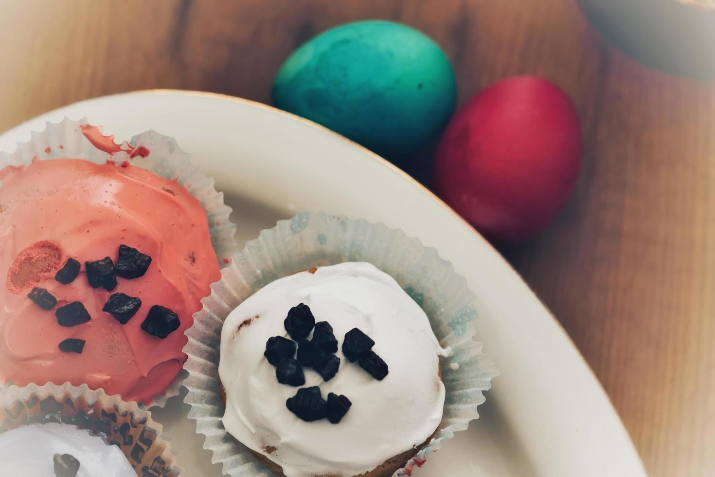 paaseieren en cup cake foto