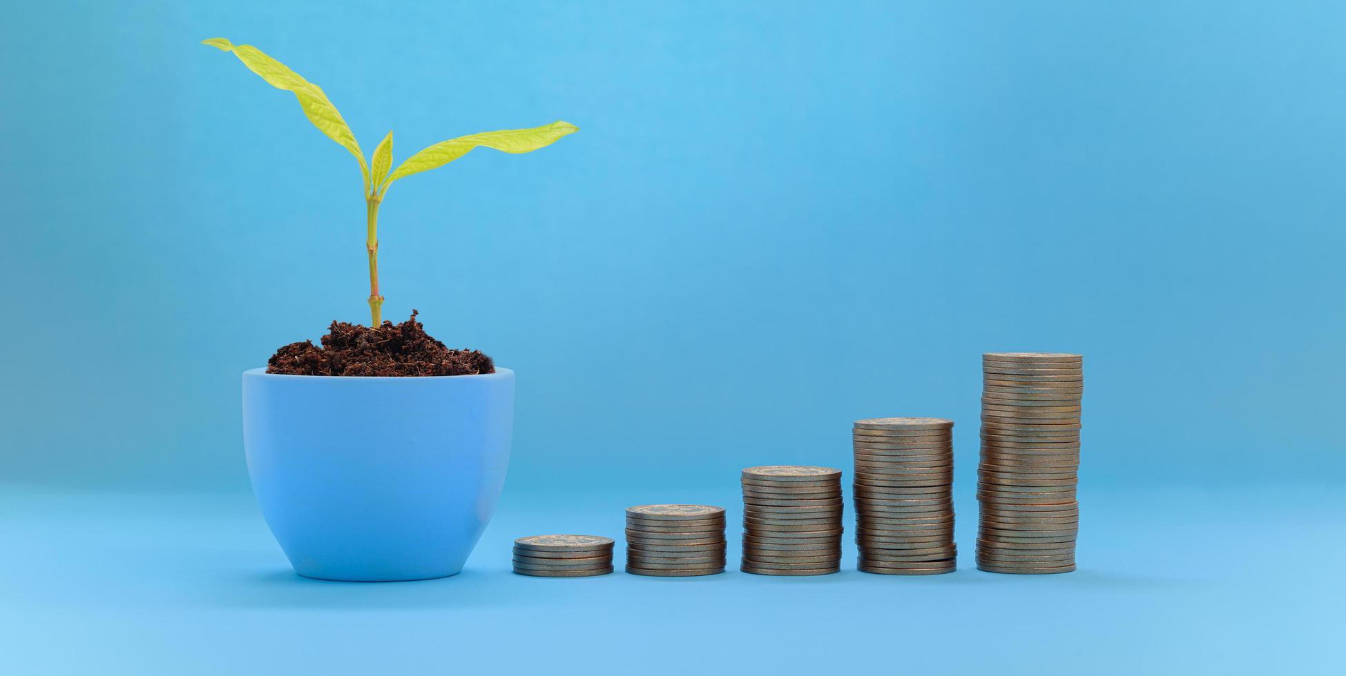 gestapelde munten investeringsvoorraad groei foto