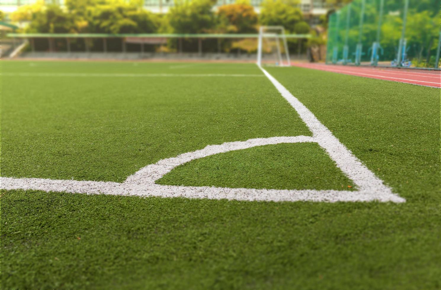 voetbal of voetbalveld met witte lijn foto
