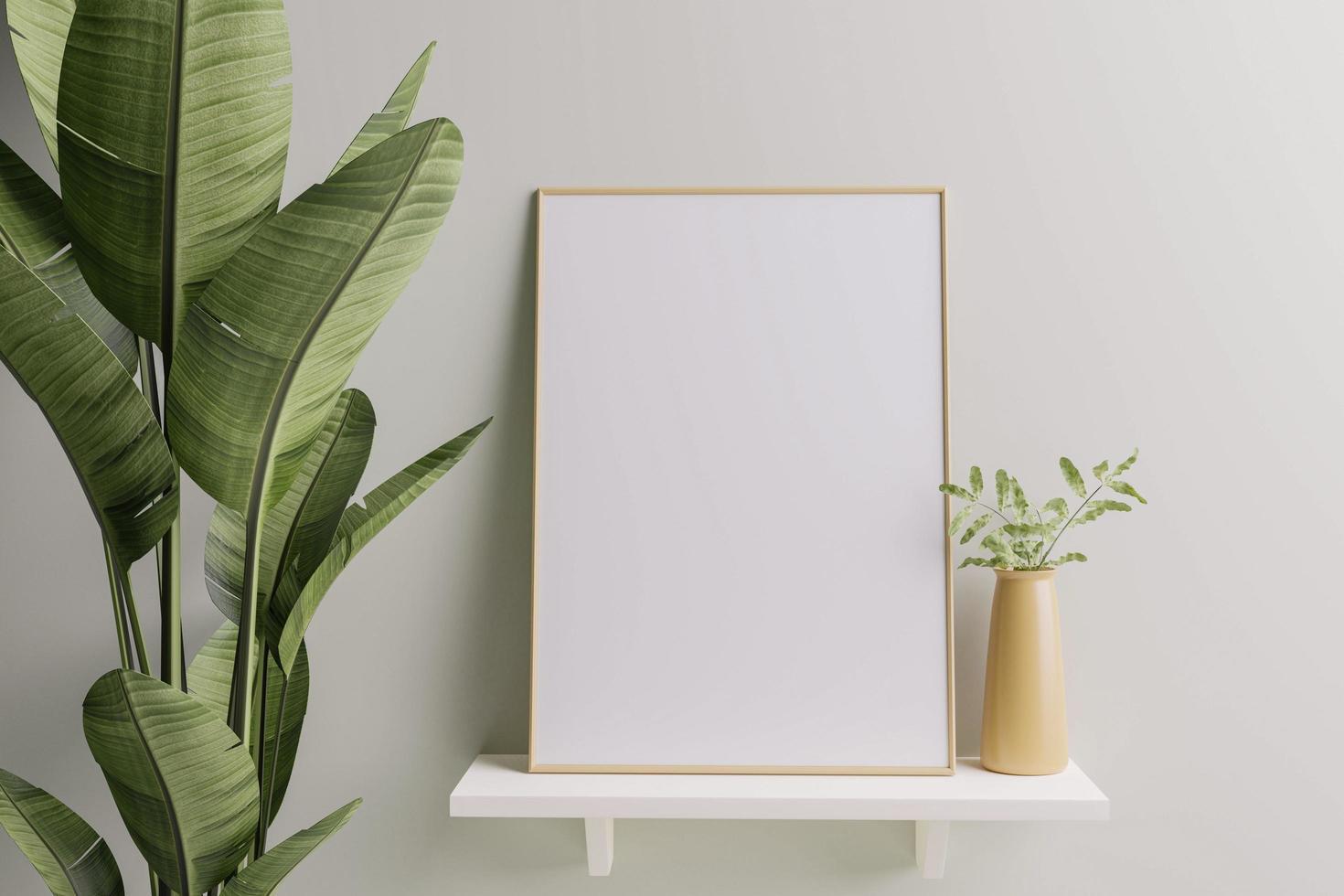 fotolijst geplaatst op de plank met bloempotten. foto
