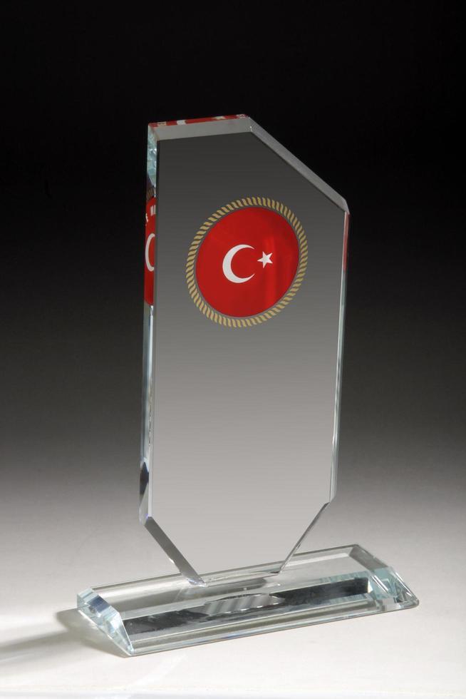 acryl, kristal of glas transparante blanco glazen trofee award foto