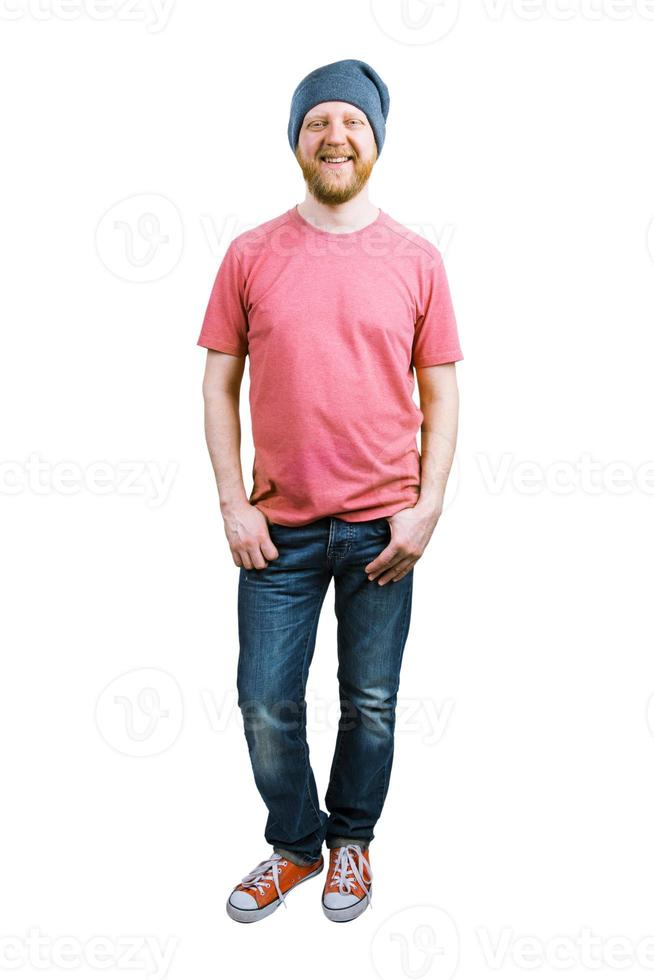 vrolijke gelukkige man in spijkerbroek foto