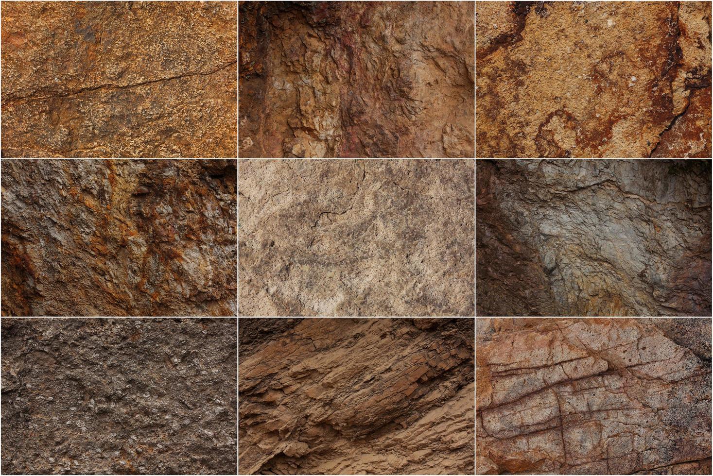 stenen oppervlakken met verschillende texturen foto