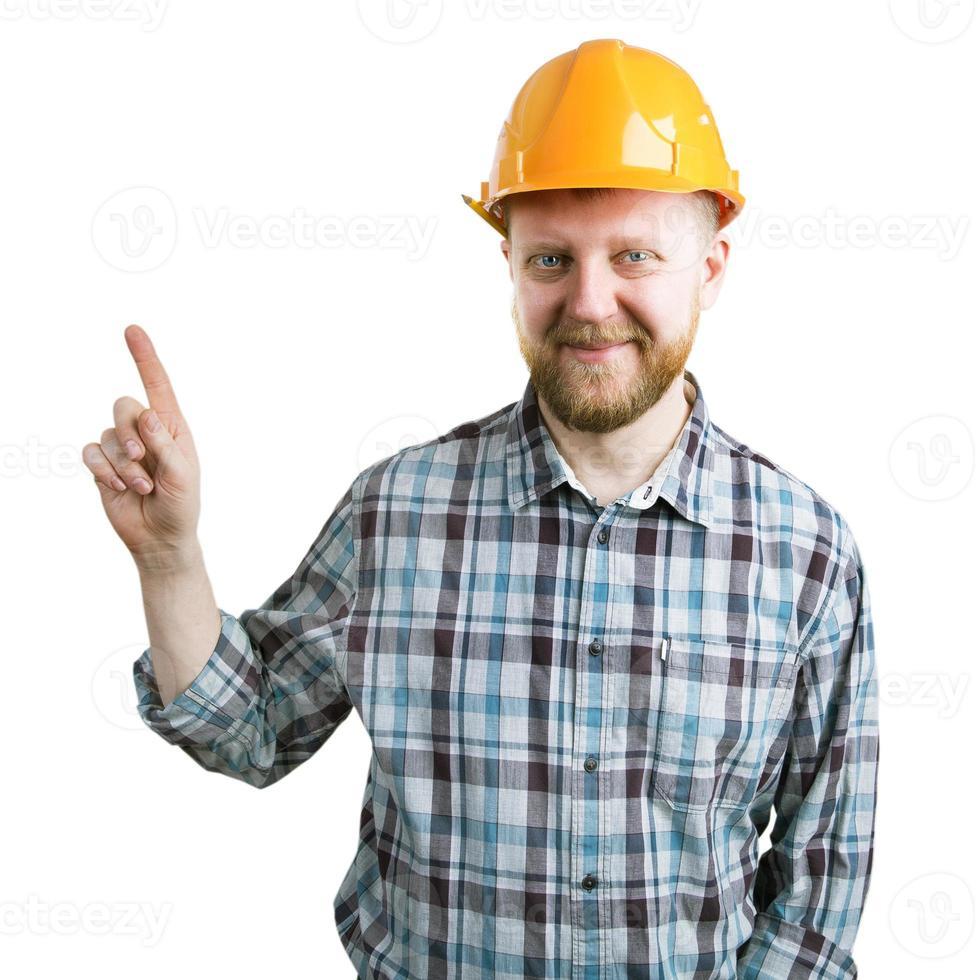 man in een helm toont de wijsvinger omhoog foto