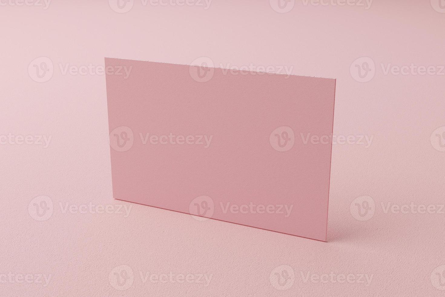 roze pastel visitekaartje papieren mockup sjabloon met lege ruimte omslag voor invoegen bedrijfslogo of persoonlijke identiteit op kartonnen achtergrond. modern stijlconcept. zijaanzicht. 3d illustratie render foto