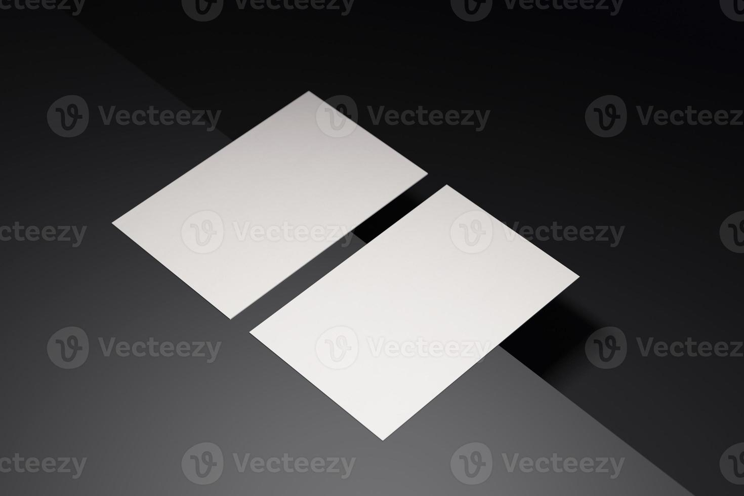 zwart-wit sjabloon voor visitekaartjespapier met lege ruimtedekking voor het invoegen van bedrijfslogo of persoonlijke identiteit op zwarte chroomvloerachtergrond. modern begrip. 3d illustratie render foto