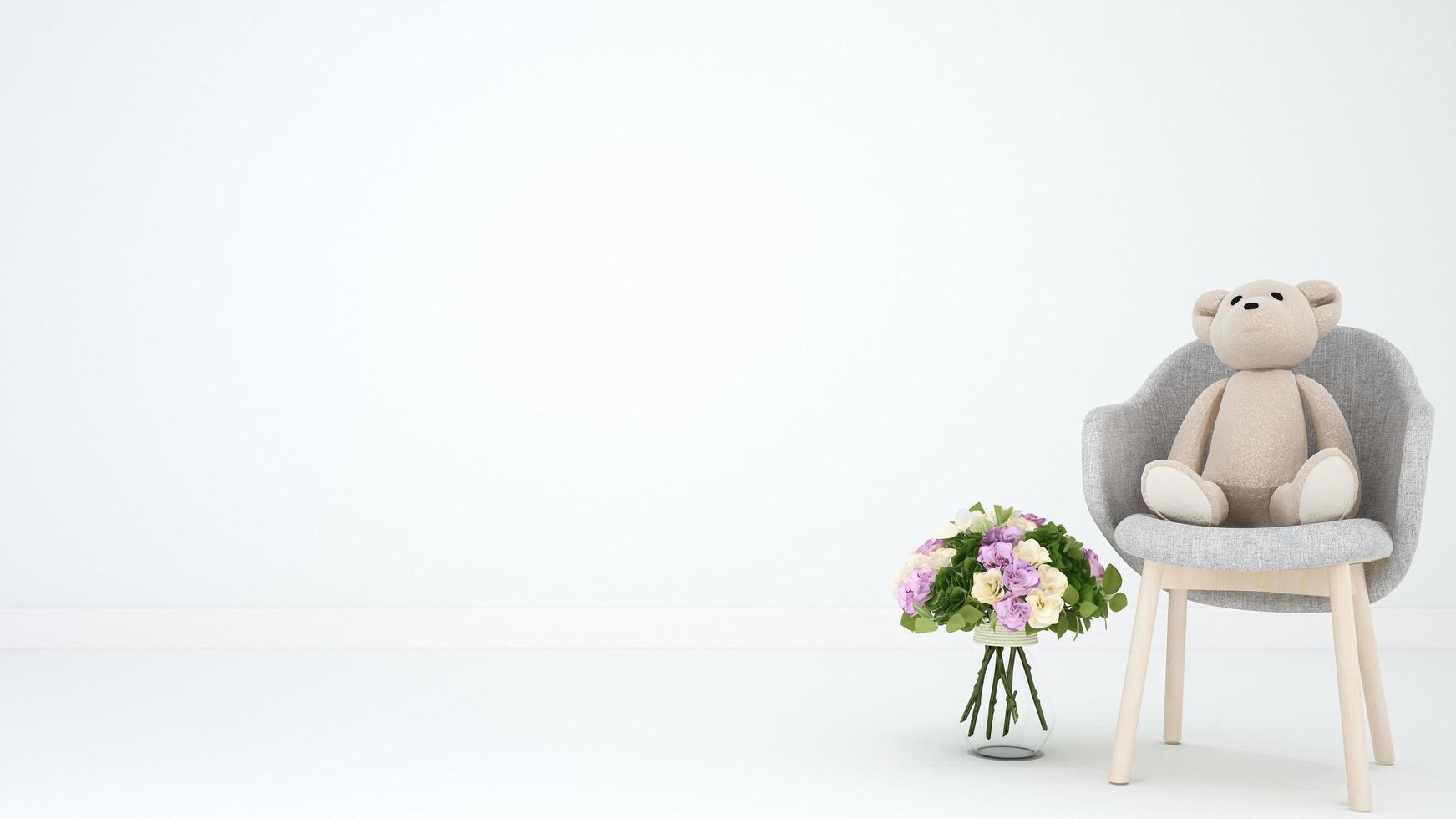 teddybeer op fauteuil en bloem voor kunstwerk foto