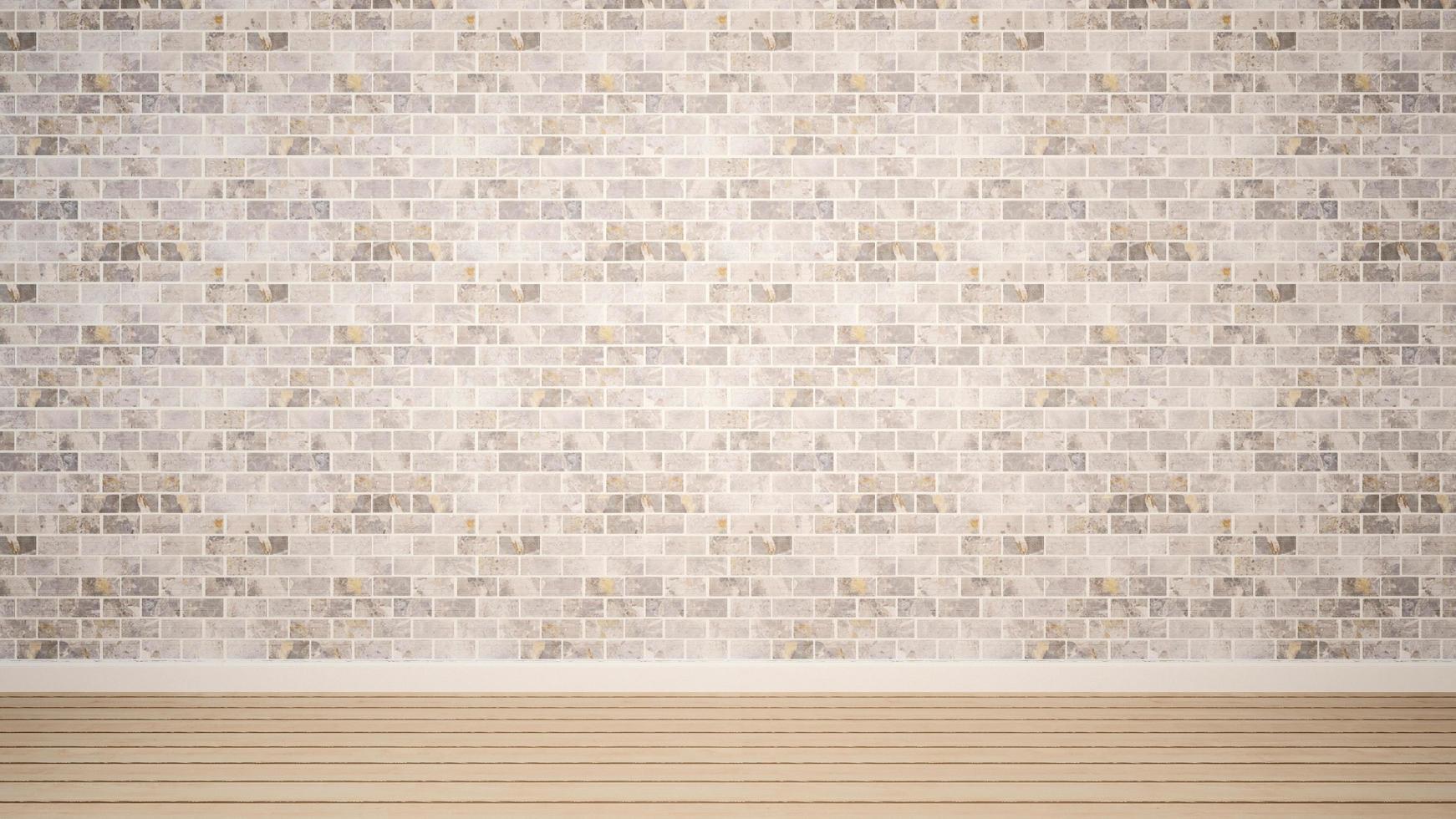 lege kamer en witte bakstenen muur in appartement of huis foto