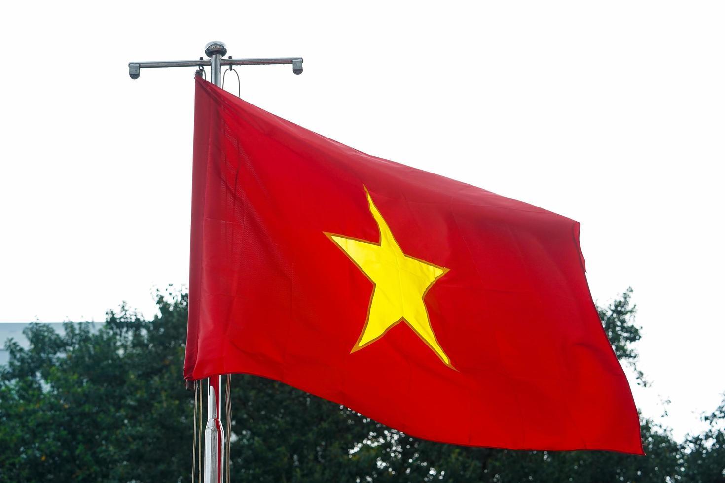Vietnamese vlag, vlag van Vietnam, rode vlag met gele ster foto
