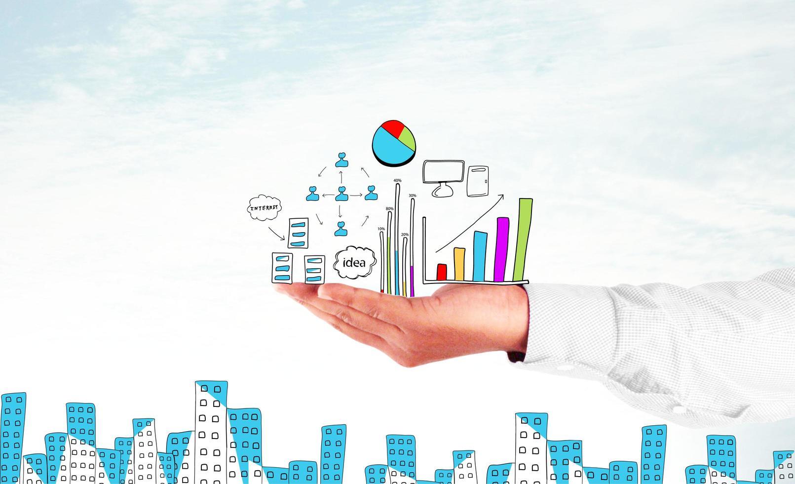 zakenman hand met businessplan foto