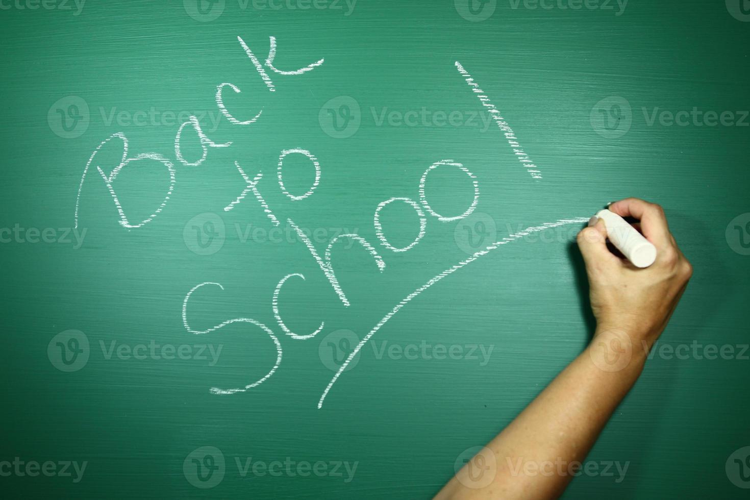 groene achtergrondafbeelding met terug naar school-thema foto