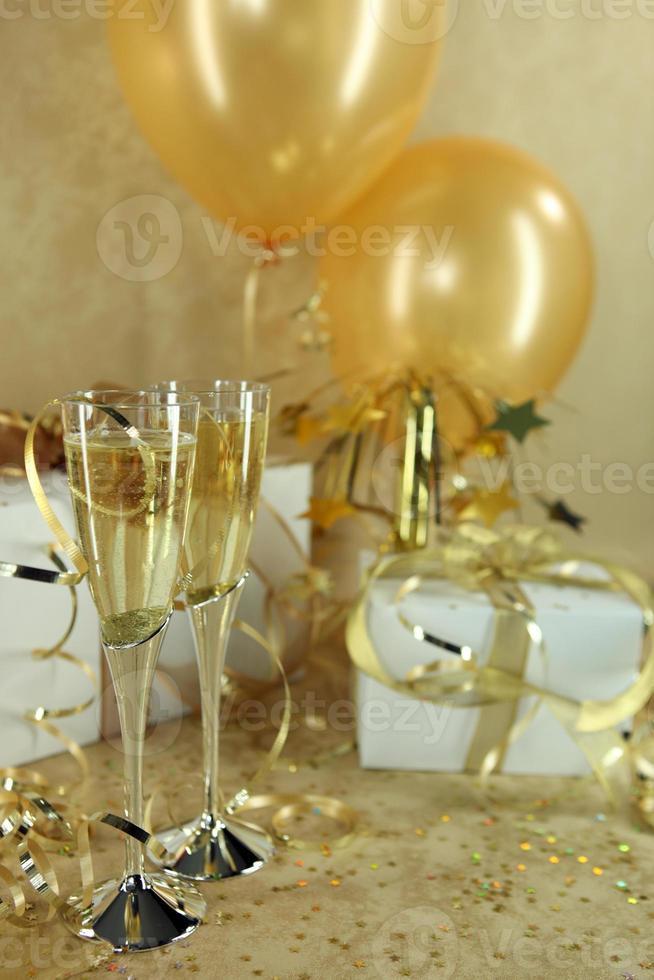 vakantiefeest met champagne foto