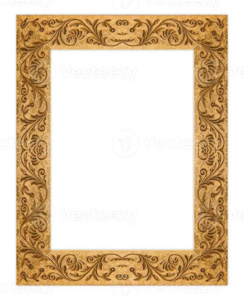 rechthoekige grunge vuile oude gouden fotolijst foto