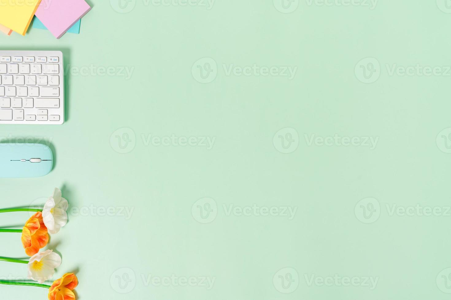 minimale werkruimte - creatieve platliggende foto van werkruimtebureau. bovenaanzicht bureau met toetsenbord en muis op pastel groene kleur achtergrond. bovenaanzicht met kopieerruimte, platliggende fotografie.