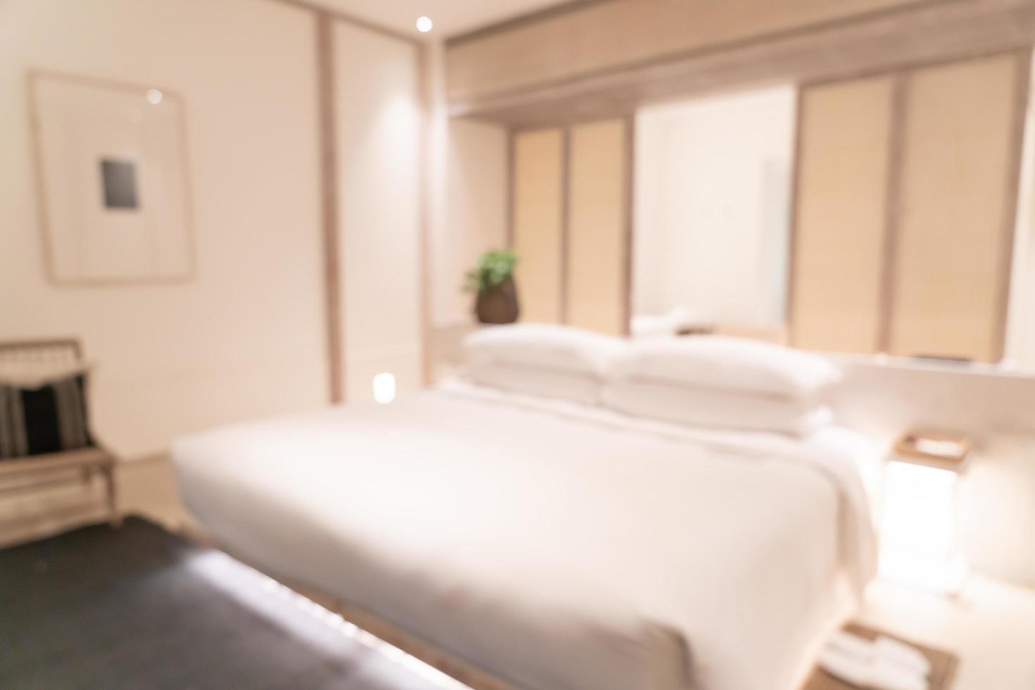 abstract vervagen luxe hotel resort slaapkamer interieur voor achtergrond foto