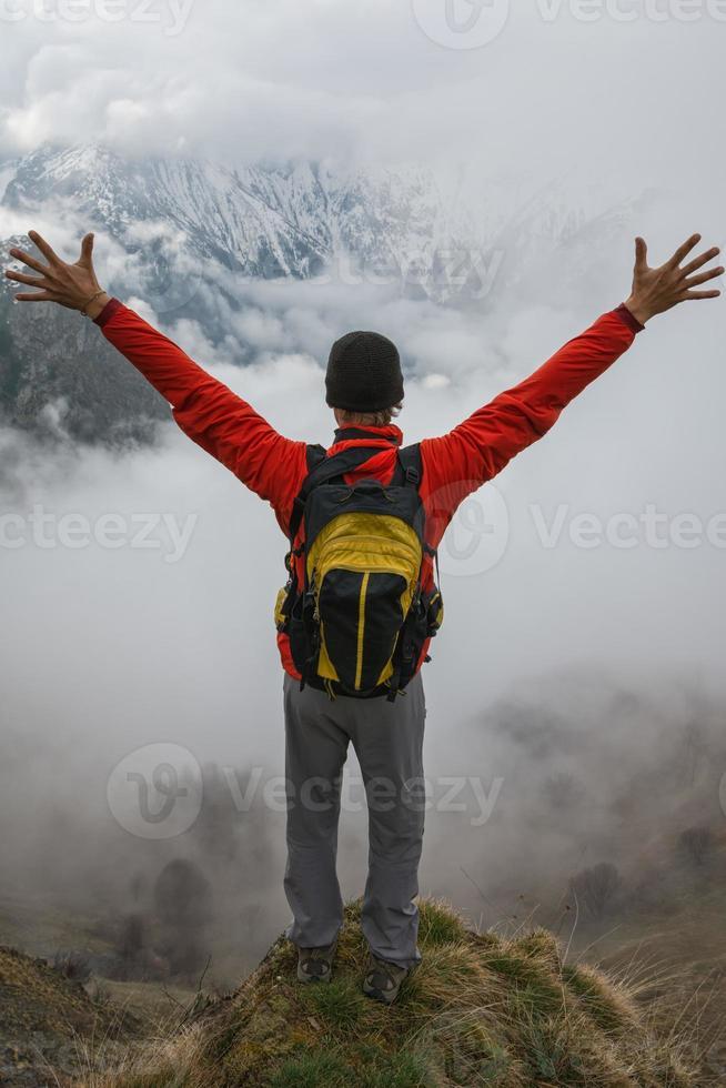 wandelaar op de top foto