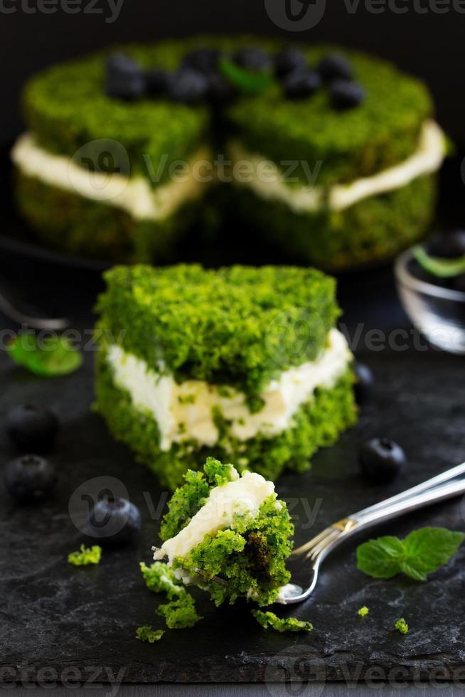 mooie groene cake met spinazie en botercrème. Turkse keuken. foto