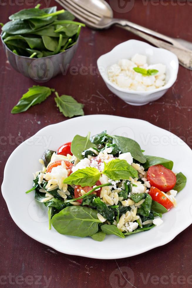 pastasalade met orzo, spinazie en feta foto