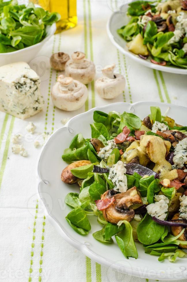 salade met krielaardappeltjes en blauwe kaas foto