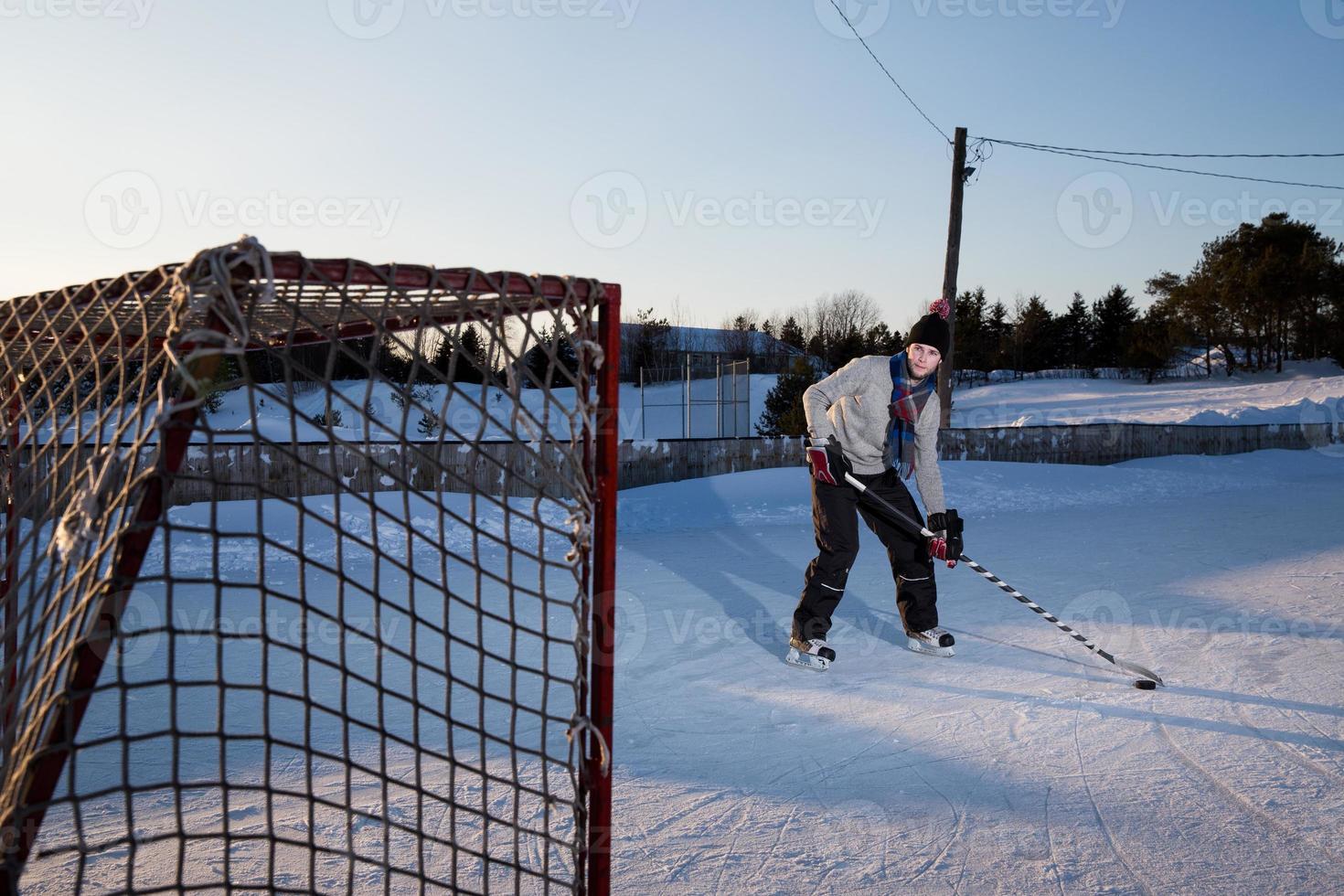 ijshockey buiten foto