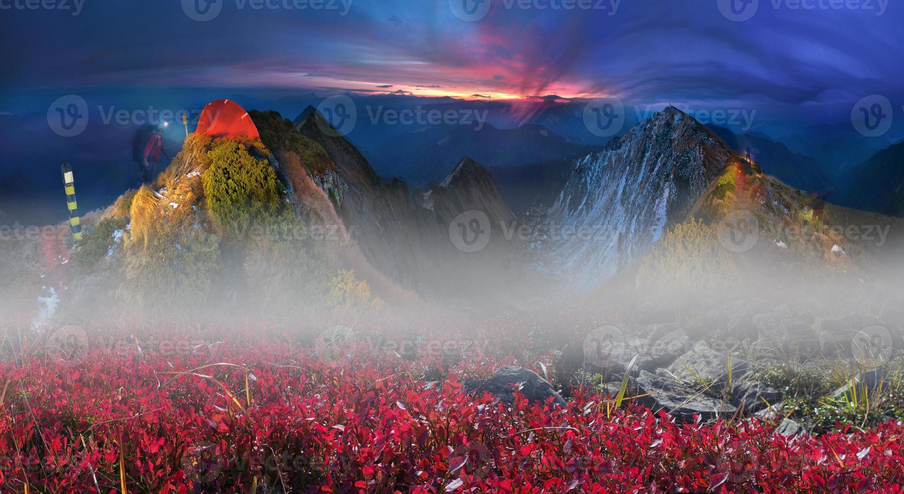 zonsopgangen op de top foto