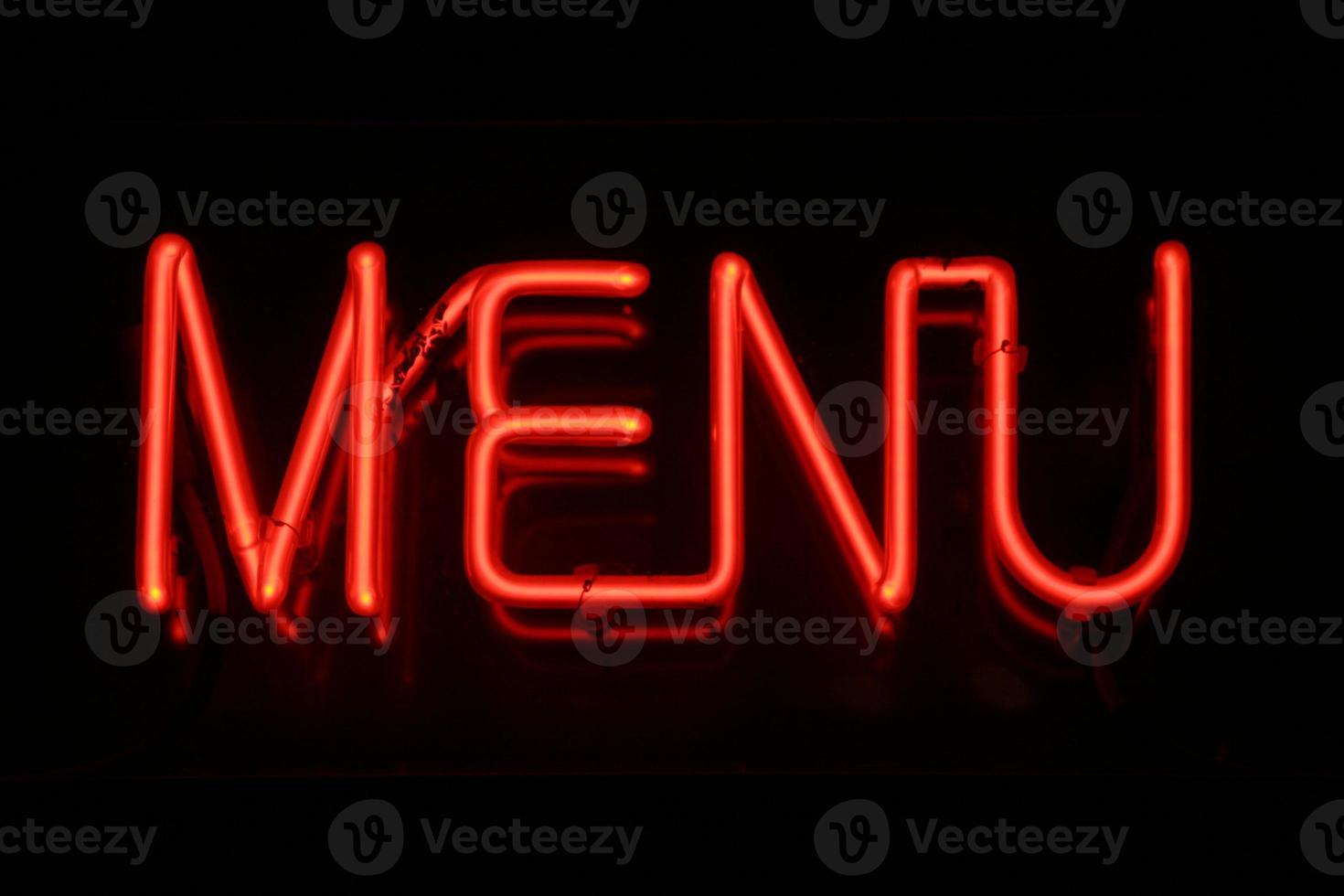 menu neon teken foto