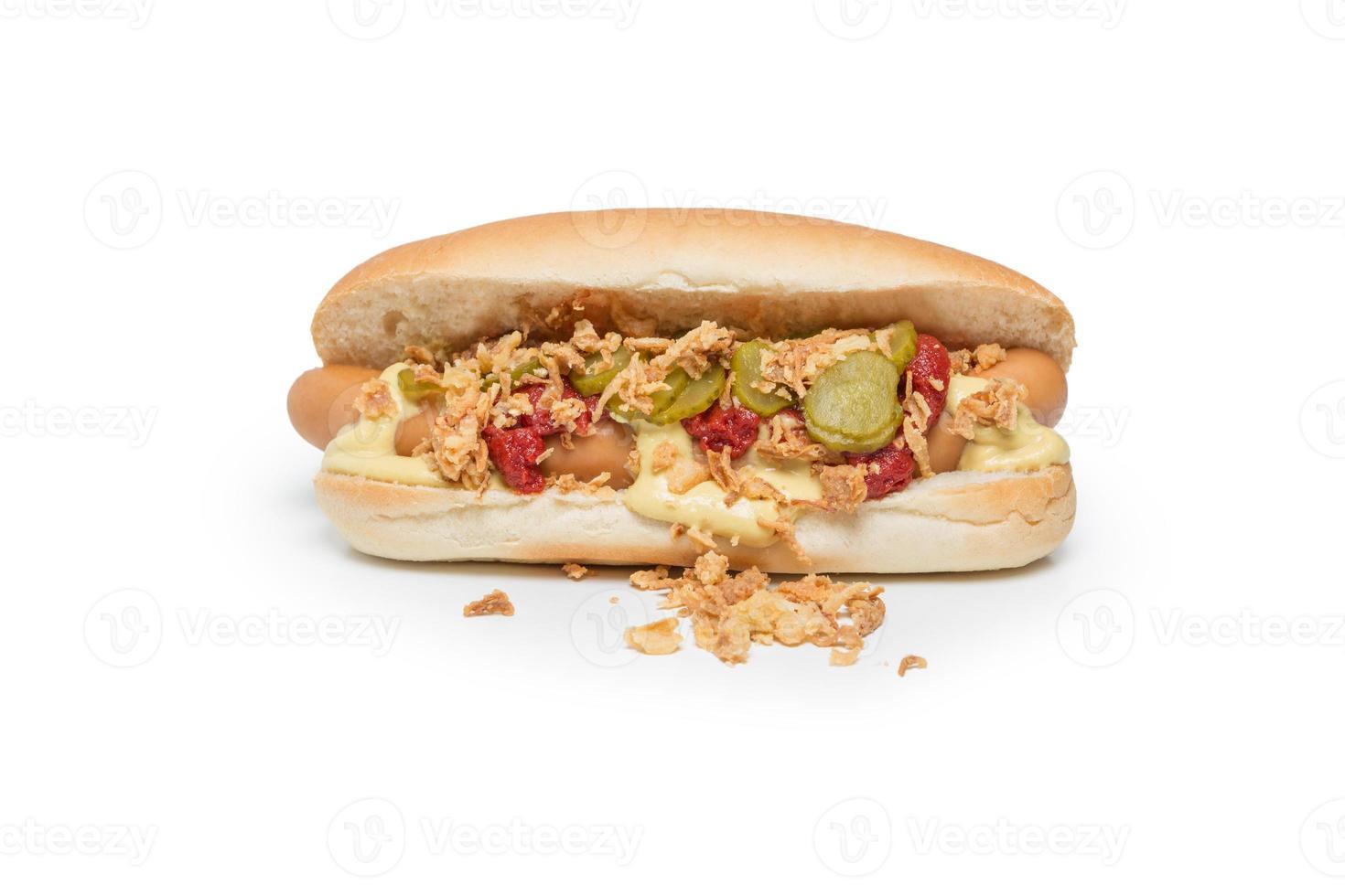hotdog op wit foto