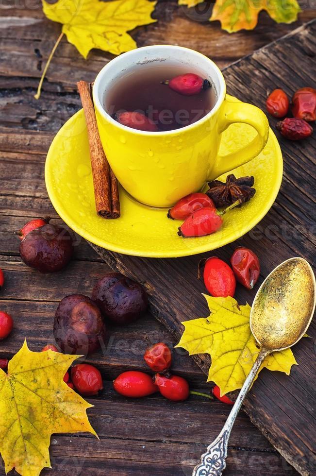 thee met vruchten van hondsroos foto