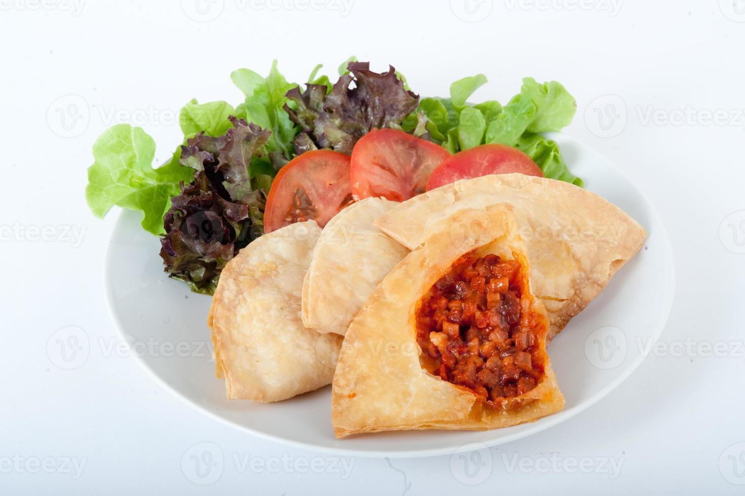 gebakken dumplings, gebakken dumpling met zeevruchten - gyoza foto
